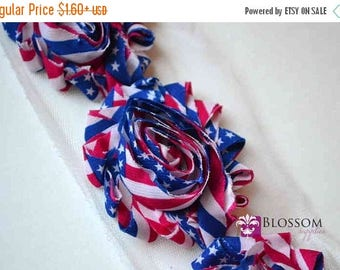 ECLIPSE SALE 1/2 or 1 YARD Increments - Flag - Chiffon Shabby Rose Trim - Patriotic - Headband Flowers - American Red White Blue 4th of July