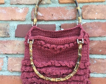Crochet purse with wooden handles