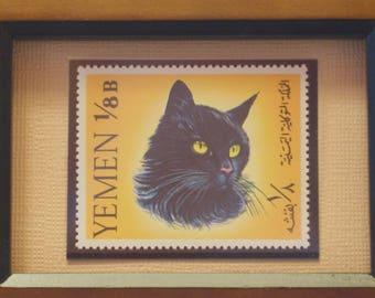 Euro Blue/British Shorthair Framed Cat Stamp from Yemen