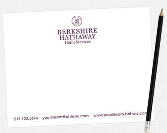 Berkshire Hathaway real estate flat notecards - BHHS stationery - thick, matte, full color both sides - FREE UPS ground shipping