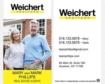 Weichert real estate DELUXE business cards - thick, color both sides - FREE UPS ground shipping