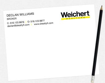 Weichert real estate flat notecards - Weichert personal stationery - thick, matte, full color both sides - free UPS ground shipping
