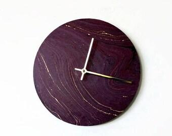 Purple Wall Clock Etsy
