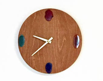 Silent Wall Clock, Agate and Wood Clock, Ready To Ship,  Home Decor, Home and Living, Decor and Housewares