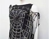 Halloween Fashion Black Gray Spiderweb Gothic Top Crochet Web's Mittens Halloween Costume Women Black Widow Goth Halloween Clothing