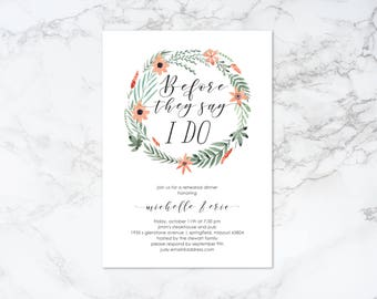 Printable Watercolor Floral Wreath Rehearsal Dinner Invitation