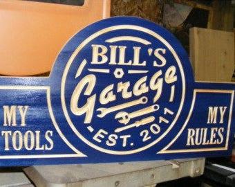 Garage sign   Custom  Carved Wood Sign