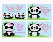 Panda Valentine INSTANT DOWNLOAD, printable class valentine, pfd file, panda bears