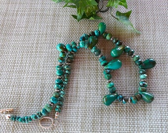 20 Inch Vintage Green Turquoise Faceted Teardrop Necklace with Earrings