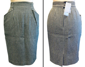 SUPER FIND! Vintage 80s ESPRIT houndstooth pencil skirt w/ all the tags - Size 7/8
