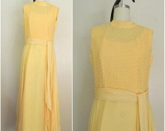 Vintage 1970s Yellow Sleeveless Dress