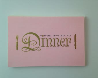 vintage nos unused pink and gold dinner invitation set of 8 with envelopes by gibson usa