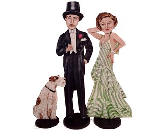 The Thin Man Nick and Nora Charlesand Asta the Dog Hand Painted 2D Art Figurine Set