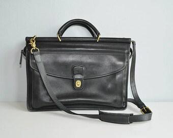 Vintage Coach Bag / 1980s Coach Briefcase Messanger Bag Leather Handbag Shoulder Bag