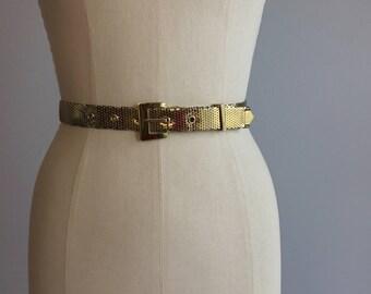 Vintage 70s Whiting and Davis Belt / 70s Gold Metal Mesh Skinny Belt / Glam Disco Belt