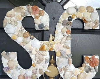 Custom Made Door Hanger, Letters or Numbers, Hand Cut Wood, Wrapped with Jute or Ribbon, Decorated with Sea Shells, Coral, Sea Stars