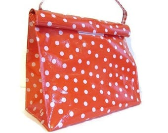 ON SALE Red Oil Cloth Lunch Bag Snack Reusable Bag Polka Dot Print with Strap Reusable