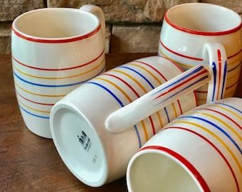 Tall Mugs for Lemonade, Iced Tea in Ivory with Bright Rainbow Handpainted Stripes by Steubenville Pottery ca. 1930s #486