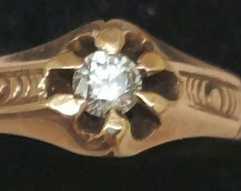 Antique  Estate Gothic Victorian  Rose 10K Diamond  Belcher Ring, 1890s