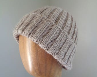 Alpaca Wool Hat, Natural Brown, Watch Cap Beanie, Hand Knit, Teens Men Women, Warm Winter Hat