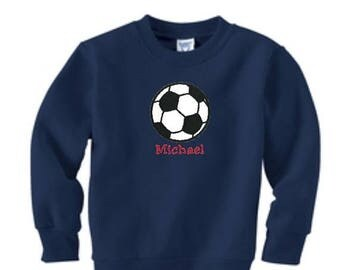 SALE Soccer Sweatshirt, Toddler Sweatshirt, Soccer Team Gift, Soccer Ball Embroidery, Soccer Ball Applique, Sports Gift, Team Soccer Prize
