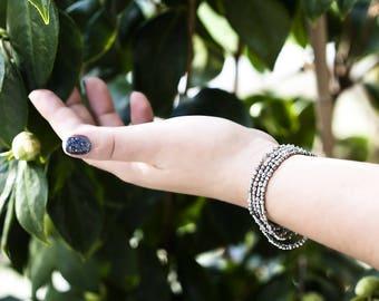 659 Hematite bracelet, Silver jewelry for her, Bracelet gift, Beaded bracelet, Hematite necklace, Silver metal bracelet, Silver bracelet.