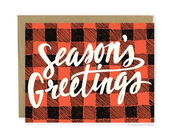 Season's Greetings Card - seasons greetings holiday card, Christmas card, Christmas greeting, blank holiday card, red & black buffalo plaid