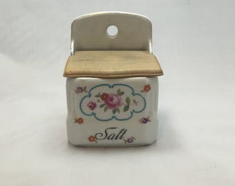 Vintage Porcelaine Salt Box,Czechoslavakia,Floral Salt Box,Wood Flip Top