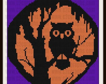 Halloween Owl Afghan, C2C Graph, Written Word Chart, Crochet Pattern