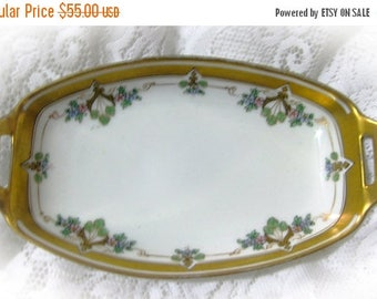 30% Off Clearance Sale Antique Two Handled Dish Hand Painted with Flowers by W. Pickard 1912-1918