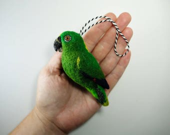 Yellow-naped Amazon Parrot, Needle Felted Bird Ornament
