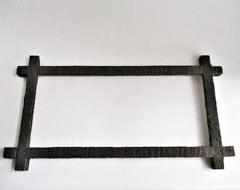 Vintage Wood Frame Rustic Primitive Criss Cross Corners