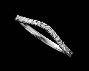 Diamond Wedding Ring, Slightly Curved Wedding Ring, Skinny Contour 14k Gold Band, French Cut Down Micro Pave Diamond Wedding Ring 1.7mm