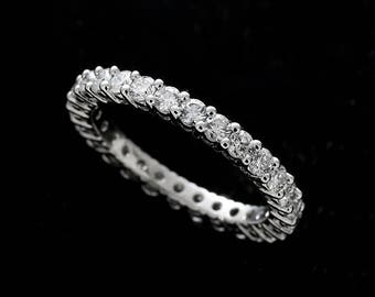 Eternity Diamond Wedding Ring, Classic Shared Prong Diamond Wedding Ring, Natural Diamond Wedding Band, Conflict Free 14K Gold 2.4mm