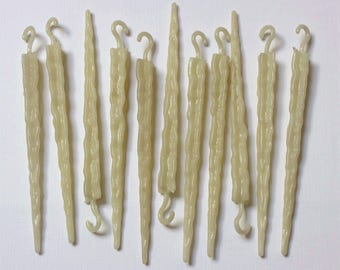 Vintage 1950s Christmas Ornaments - Mid-Century GLOW ICICLES GID Decorations (11 Total)