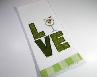 Love Wine -  Green Towel - Embroidered Towel - Kitchen Towel - Wine  Kitchen Towel - 10 dollar gift - Funny Kitchen Towel- Wine Drinker Gift
