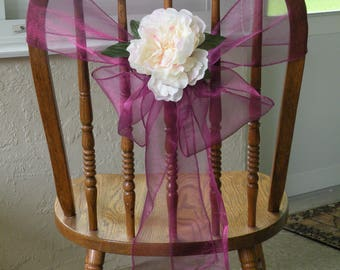 ORGANZA CHAIR SASHES , Purple Wine Sashes With Peony Flowers, Wedding Decorations, Reception Chair Bows, Set of 50 , Custom Order