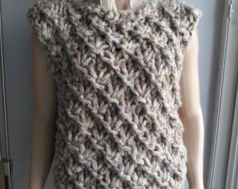 CLIMBER - Hand Knit SWEATER / Thick Sweater / Boat Neck Sweater / Cozy Sweater / Sleeveless Sweater / Textured Sweater / Multicolor Sweater