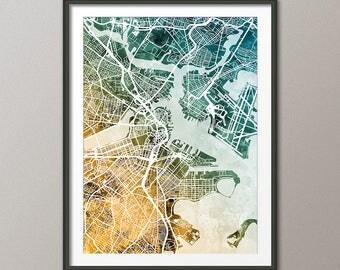 Boston Map, Boston Massachusetts City Street Map, Art Print (3005)