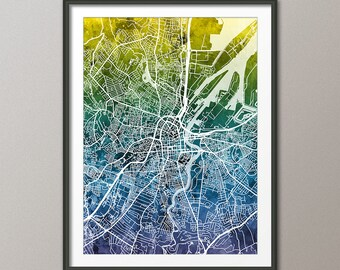 Belfast Map, Belfast Northern Ireland City Map, Art Print (3493)