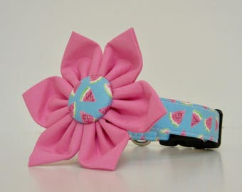 Watermelon Blue Pink Summer Dog Flower Collar Made to Order
