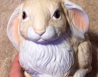 Vintage ceramic lop-eared bunny planter from the 1970s
