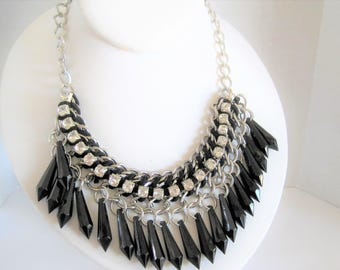 Black Glass Prism Necklace - Glass Bead Fringe - Rhinestone Adorned - Prism Beads