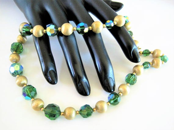 Napier Green Crystal  Choker - Gold Tone Sparklers  - AB Faceted Beads - Vintage Signed Choker