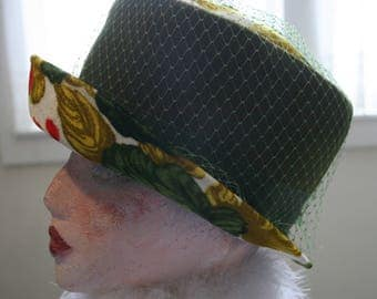 Vintage Dorene Velvet Floral Hat Stylish 1950's Couture Mad Men High Fashion