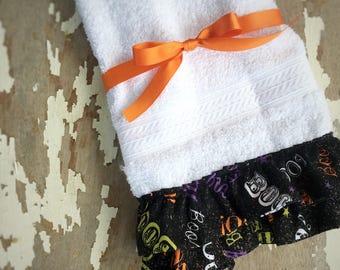 halloween bathroom decoration boo hand towel halloween decor bathroom decor black and - Halloween Bathroom Decor