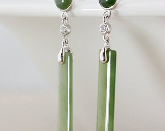 ON SALE Rectangle Jade Dangle Earrings - 925 Sterling Silver - Studs