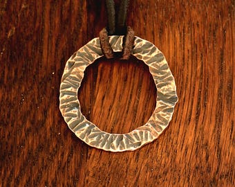 """Pendent P-103, Copper Hammered Textured Rustic Minimalist Boho Necklace Men's or Women's with Leather lacklace 19"""". In Stock"""