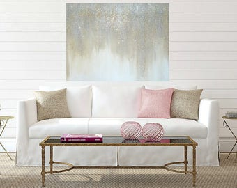 Art, Large Glitter Painting, Original Abstract, Acrylic Paintings on Canvas by Ora Birenbaum Titled: Sparkle 2 36x48x1.5""