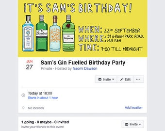 Gin Facebook Event Invitation, Social media Birthday, Gin Birthday Party Facebook Cover, Quick and Easy online Party Invitations